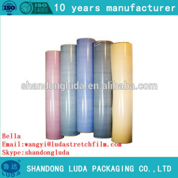 Luda hot selling color hand and mechanical LLDPE film Plastic stretch wrap film