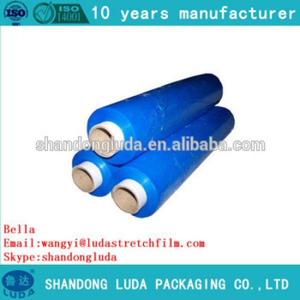 Alibaba supplier blue handmade LLDPE plastic stretch wrapping film
