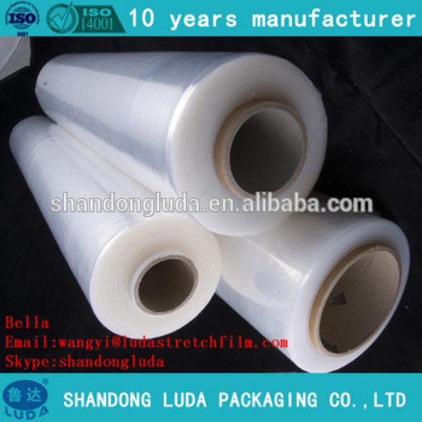 Luda 100% new material clear handmade LLDPE plastic stretch wrapping Film