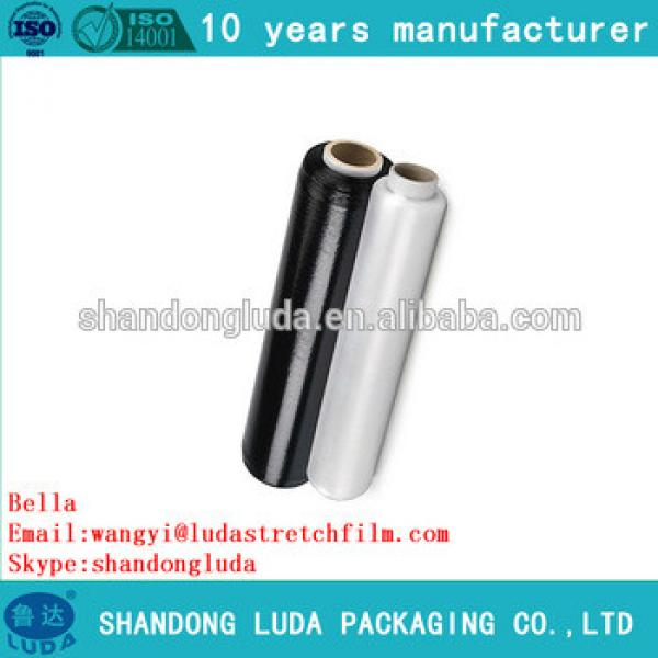 China Luda hot sale high quality black and transparent LLDPE plastic stretch wrapping film