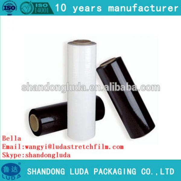 China Luda hot sale high quality black and transparent handmade LLDPE plastic stretch wrapping film