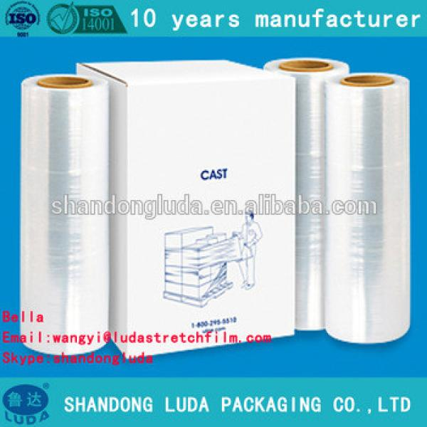 China Luda supplier newest soft transparent LLDPE stretch wrapping film