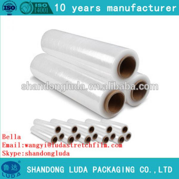 China Luda supplier newest soft clear hand and mechanical LLDPE stretch wrapping film