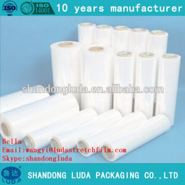China Luda manufactures clear handmade LLDPE hot forming stretch film roll