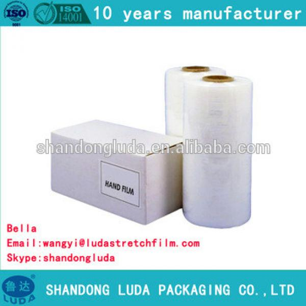 China Luda manufactures white handmade LLDPE hot forming stretch film roll