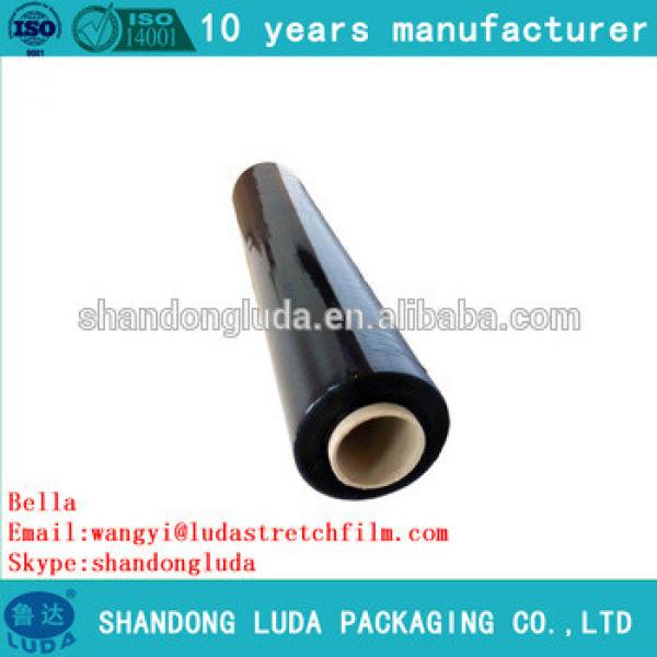 China Luda manufactures black handmade LLDPE hot forming stretch film roll