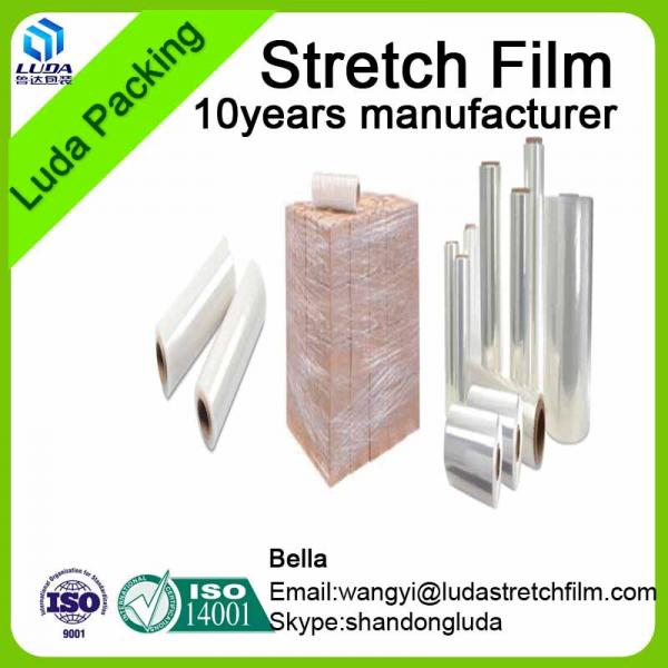 China Luda hot sale high quality black and transparent mechanical LLDPE plastic stretch wrapping film