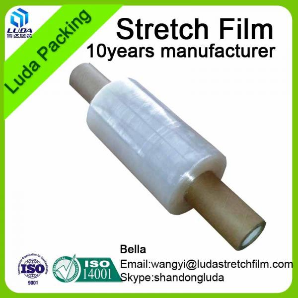 China Luda manufactures transparent LLDPE plastic stretch film roll